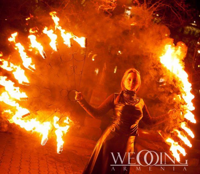 Fire show on wedding