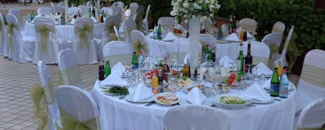 Wedding banquet at an outdoor terrace
